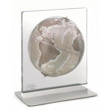 """Desk globe with plexiglass frame """"Aria""""- Warm Grey"""