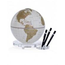 "Desk globe with plexiglass base penholder ""Balance""- White/Gold"