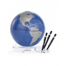 "Desk globe with plexiglass base penholder ""Balance""- Metallic Blue"