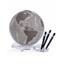 "Desk globe with plexiglass base penholder ""Balance""- Warm Grey"