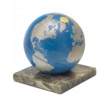 "Desk globe on marble base ""Stone""- Metallic Blue"