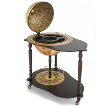 """Trolley bar globe with serving tray """"Michelangelo"""" -Rust"""